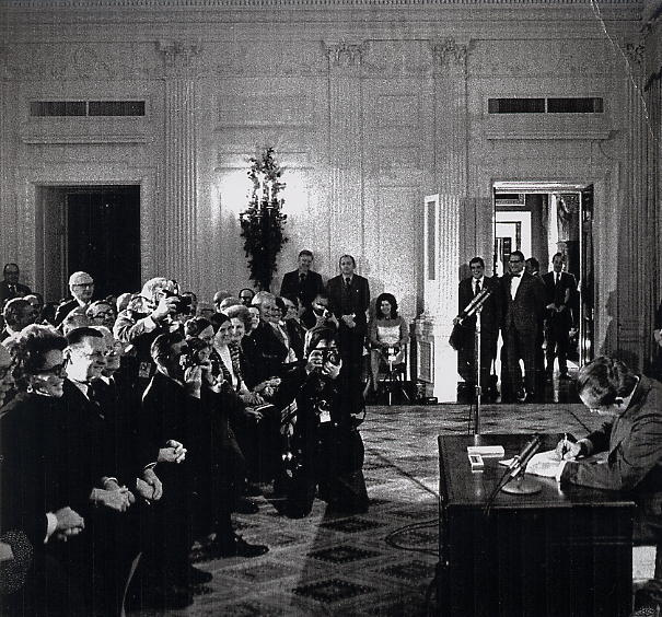 Nixon signing Cancer Act