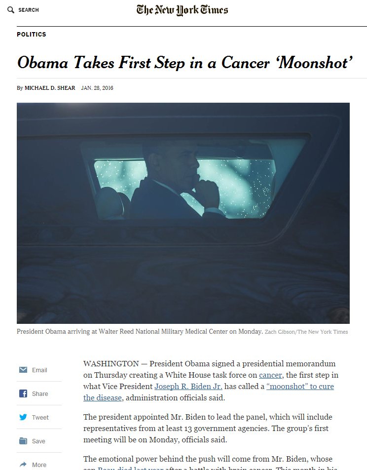 NYT Obama Moonshot Cancer