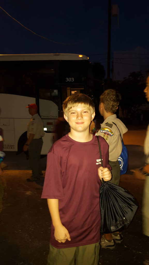 Evan Heading to Camp Woodruff in 2015 - before cancer
