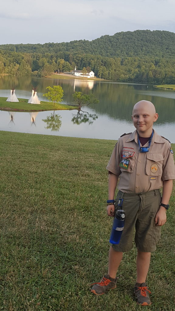 Evan at Camp Woodruff 2016 just finished chemo in May
