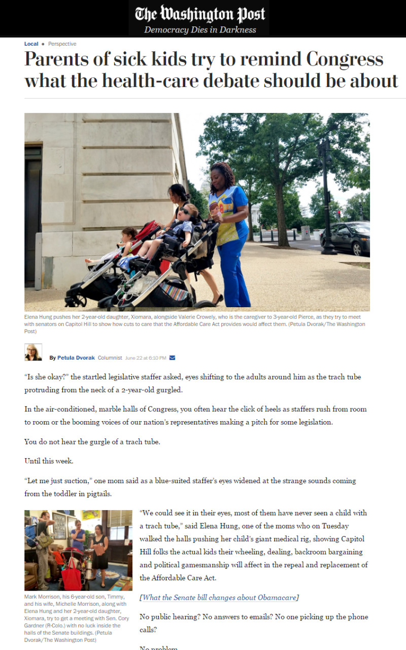 Washington post sick kids try to remind Congress what the health-care debate